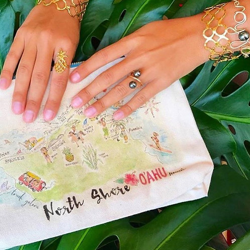 North Shore O'ahu Watercolor Map Canvas Clutch Bag with Macrame Tassel Keychain