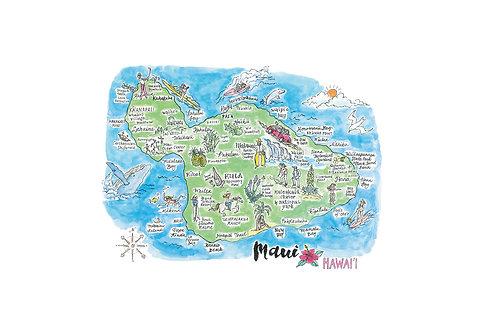 "Maui Island Map Poster  8 x 10"""