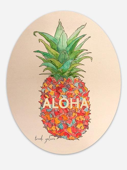 "Pink Pineapple Aloha Sticker Oval 3""x 5"""