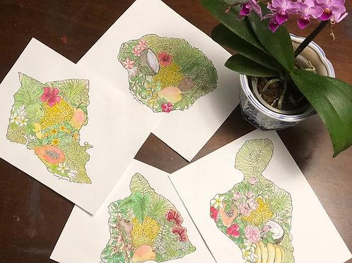 Set of Four Botanical Island Map Notecards with Envelopes