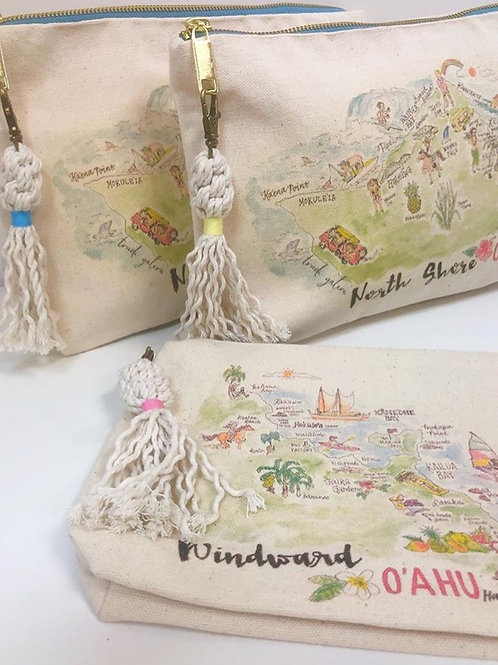Windward O'ahu Watercolor Map Canvas Clutch with Macrame Tassel Key Chain
