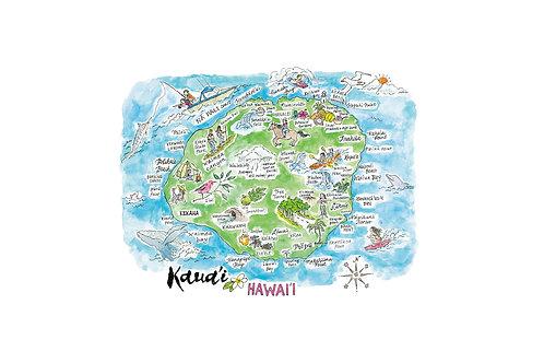 """Kaua'i Island Map Poster  8 x 10"""""""
