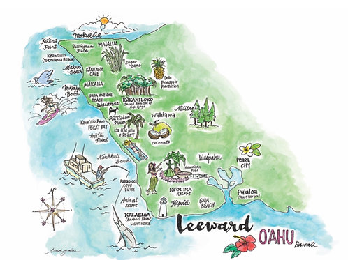 "Leeward O'ahu Hawai'i Art Poster 8 x 10"""