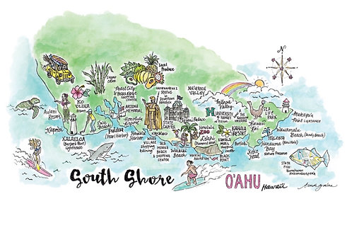 South Shore O'ahu Hawai'i Art Poster 8 x 10""