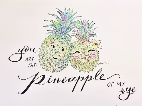 Set of Six Cute Couple You Are the Pineapple of My Eye Notecard