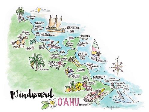 """Windward Oahu Map GICLEE ART PRINT 20 x 24"""""""