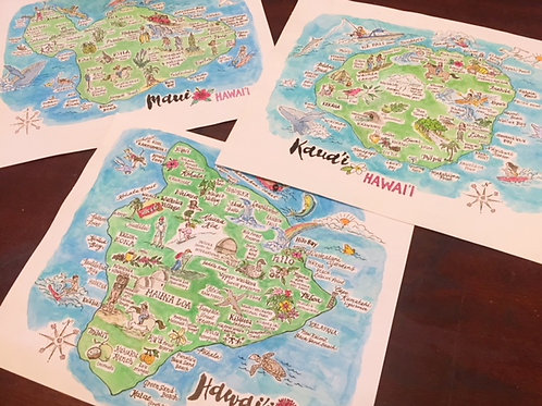 Set of Four Islands of the Hawaiian Island Chain Art Prints 8 x 10""