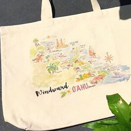 Windward O'ahu Map Classic Tote Bag