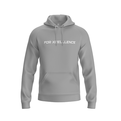 """""""For Xcellence"""" Men's Pull-over Hoodie- Gray"""