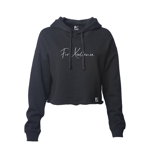 """For Xcellence"" Women's Cropped Hoodie- Black"