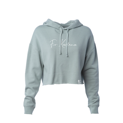 """""""For Xcellence"""" Women's Cropped Hoodie- Gray"""