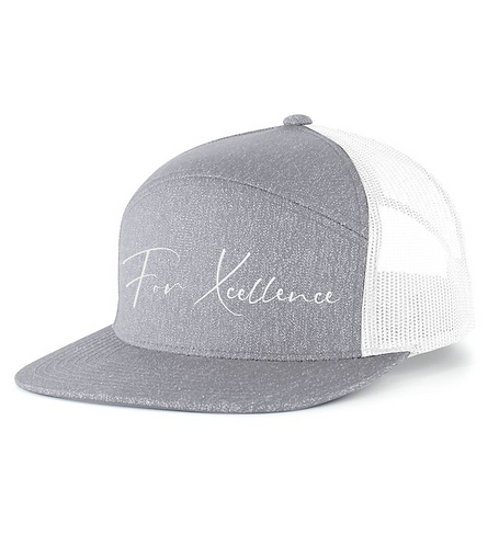 """For Xcellence"" 7 Panel Snapback- Gray"