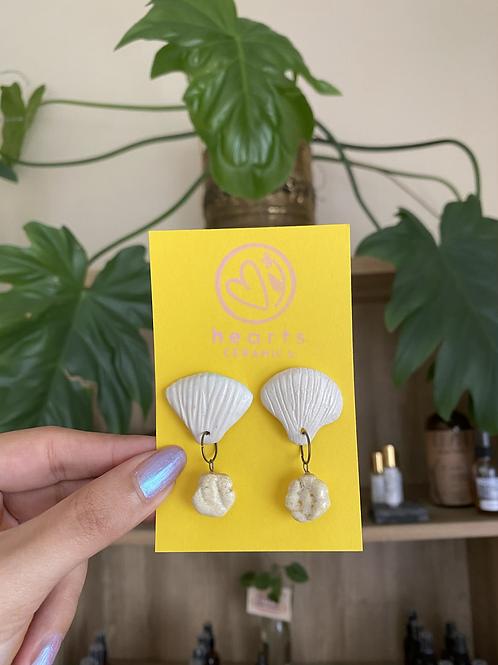 Seashell earrings by Hearts Ceramics