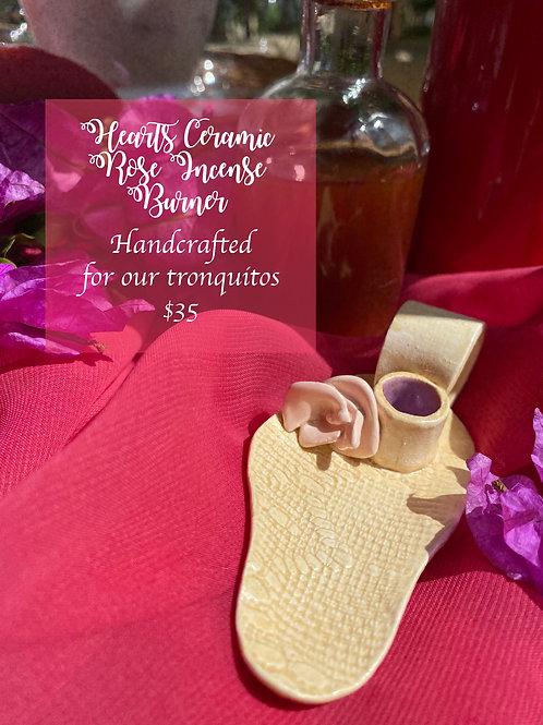 Hearts Ceramic Rose Incense Burner