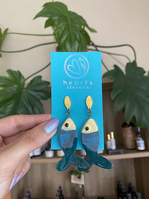 Fish earrings by Hearts Ceramics