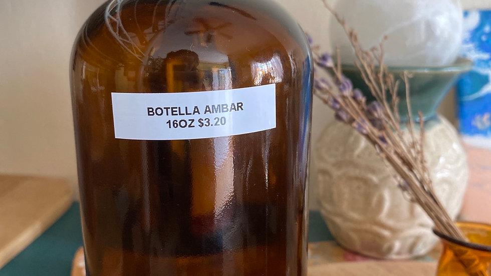 Botella 16oz Cristal Ambar (vacía)