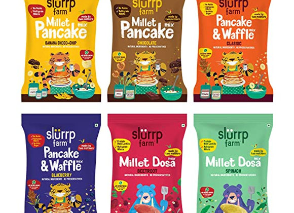 Slurrp Farm Healthy Breakfast and Snacks Trial Pack Combo, Millet Pancake and Do