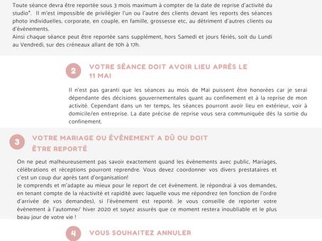 Communiqué COVID-19 - Report Séances et évènements
