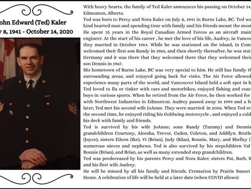John Edward (Ted) Kaler July 8, 1941 - October 14, 2020