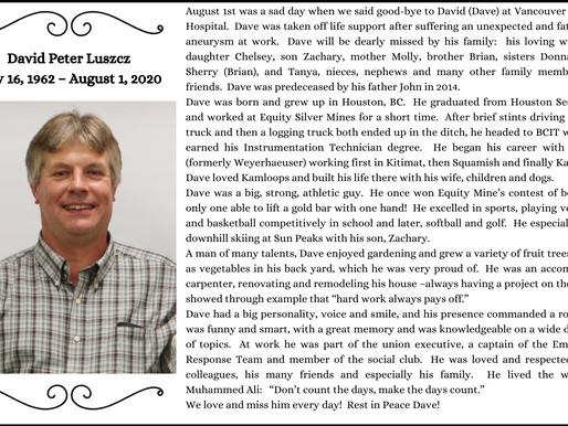 David Luszcz - May 16, 1962 - August 1, 2020