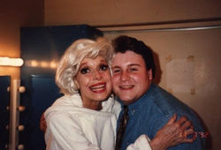 Actor Michael Walters backstage with Carol Channing