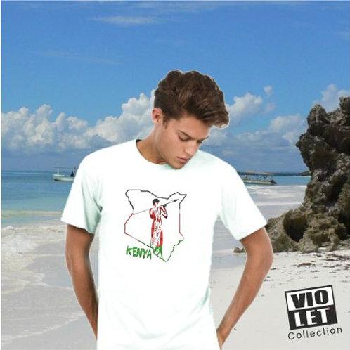 Unisex Piqué Shirt weiß mit Kenia - Motiv