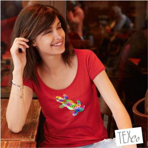 Damen Bio T-Shirt rot mit bunter Eidechse