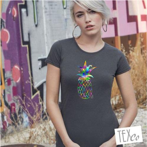 Damen T-Shirt schwarz mit bunter Ananas