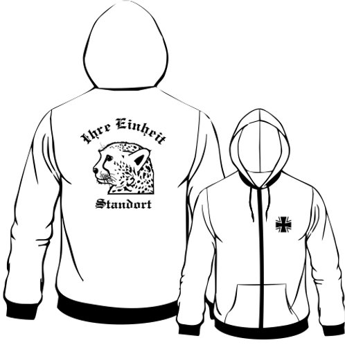 Hooded Sweat Jacket beidseitig bedruckt, Motiv: BW_057