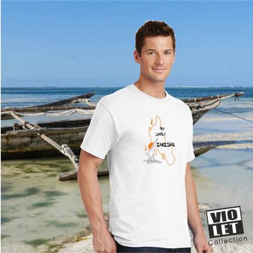 Unisex Piqué Shirt weiß mit Zanzibar - Motiv
