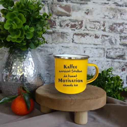 Emaille-Tasse I Kaffee erreicht Stellen