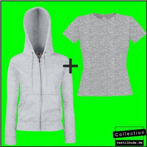 Damen Kapuzen Sweatjacke inkl. Brust- und Rückenaufdruck + T-Shirt