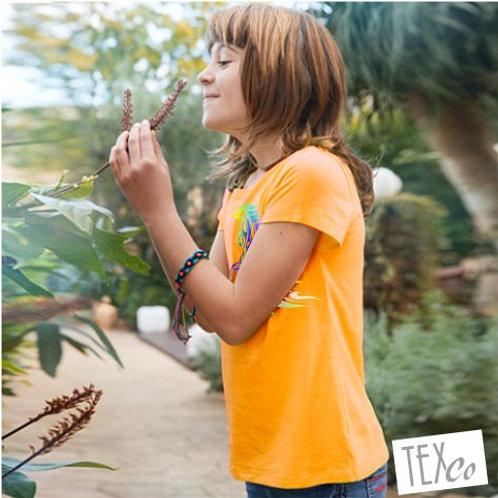 Mädchen Bio T-Shirt gold yellow mit bunten Einhorn