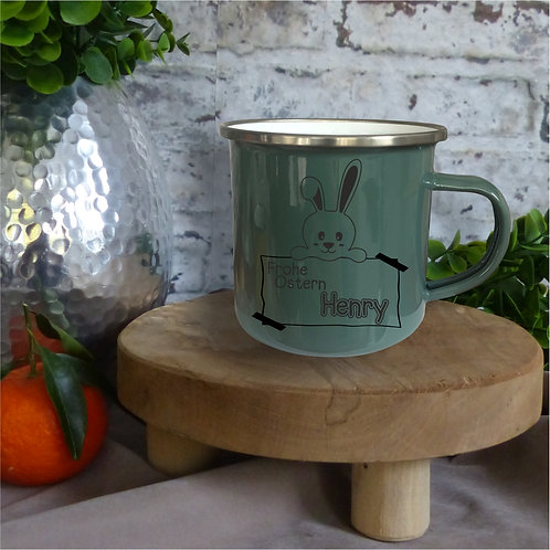 Emaille-Tasse I Frohe Ostern individuell olive