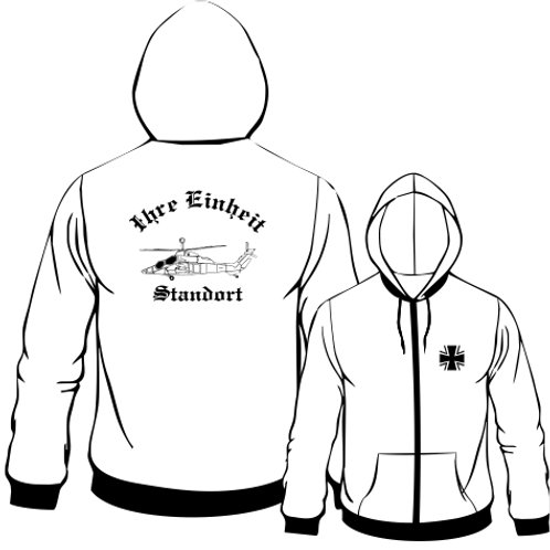 Hooded Sweat Jacket beidseitig bedruckt, Motiv: BW_022