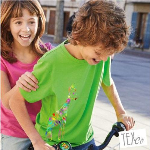 Kinder T-Shirt Farbe grün mit bunter Giraffe