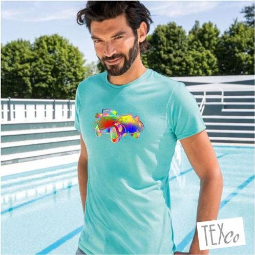 Herren T-Shirt caribbean blue mit bunten Oldtimer