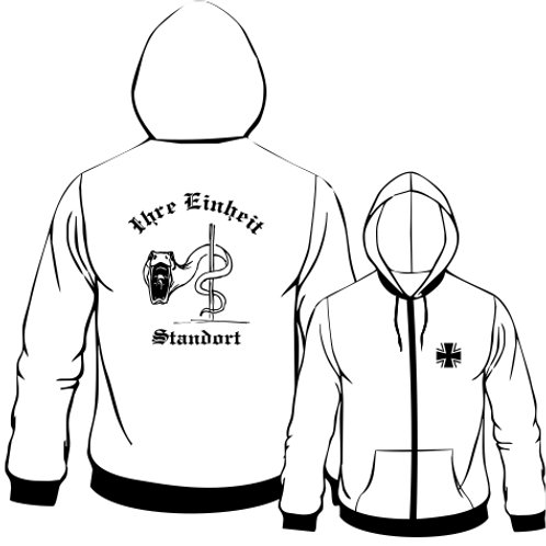Hooded Sweat Jacket beidseitig bedruckt, Motiv: BW_026