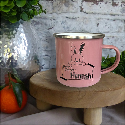 Emaille-Tasse I Frohe Ostern individuell rosa