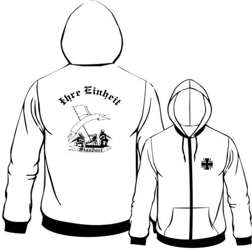 Hooded Sweat Jacket beidseitig bedruckt, Motiv: BW_069