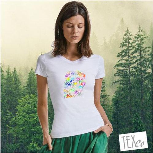 Damen Bio V-Neck T-Shirt weiß mit bunten Löwenkopf
