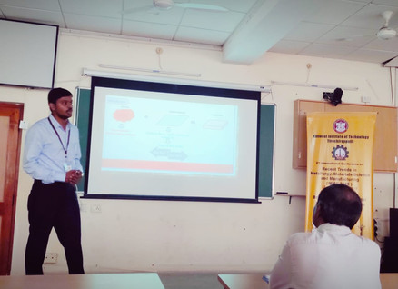 Research Scholar Srinivasu D. presenting his work at a conference held at NIT Trichy