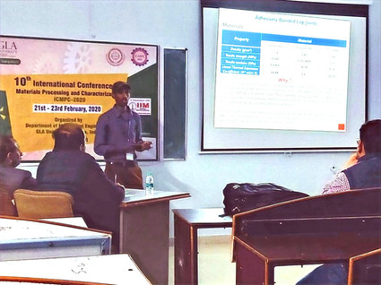Research Scholar Ganesh Gupta K. presenting his work at a conference held at NIT Trichy