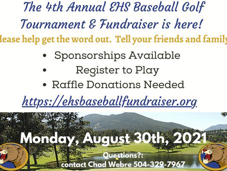 Last Reminder - 4th Annual EHS Baseball Golf Tournament & Fundraiser on Aug 30th!