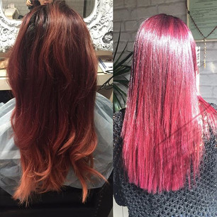 #purlehair #pinkhair #perfectcombination #ombrehair #colors #lovemyjob #beforeandafter #seethedifference