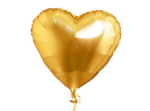 Golden heart shaped air balloon. Isolate