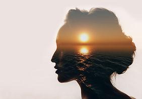 Psychology concept. Sunrise and dreamer