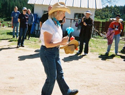 Commander Cowgirl Jill Keeping everyone in shape with her blue whip