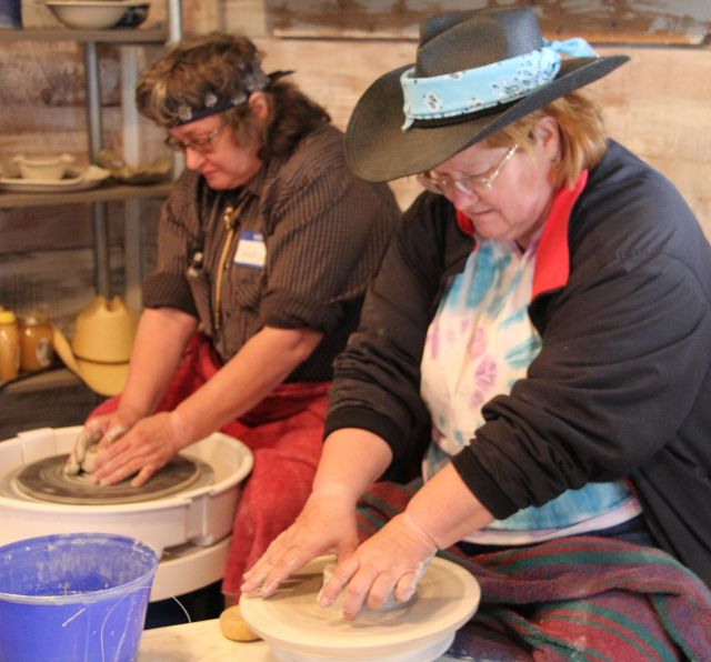 Working on the potters wheel