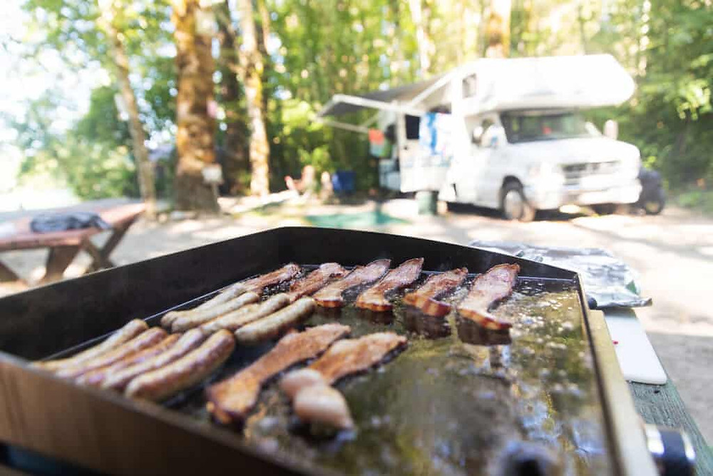 outdoor griddle with class c rv camper
